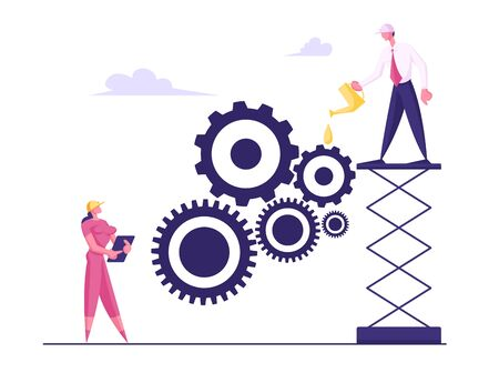 Business Characters Moving Huge Gears, Woman Managing Cogwheel Process at Tablet, Man Grease Mechanism with Oiler. Working Routine Process and Teamwork Concept. Cartoon Flat Vector Illustration