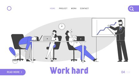 Businesspeople Boring at Meeting Presentation Website Landing Page. Businessman Explain Company Strategy, Boring Employees Sleeping at Desk Web Page Banner. Cartoon Flat Vector Illustration, Line Art