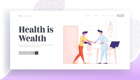 Patient with Bionic Arm Prosthesis Communicate with Practitioner Website Landing Page. Handicapped Man Visiting Doctor for Rehabilitation and Treatment Web Page Banner Cartoon Flat Vector Illustration