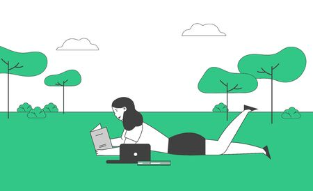 Education Concept, Girl Lying on Grass Reading Book in School, College or University Front Yard. Student Back to School, Female Character Gaining Knowledge Cartoon Flat Vector Illustration, Line Art Ilustrace