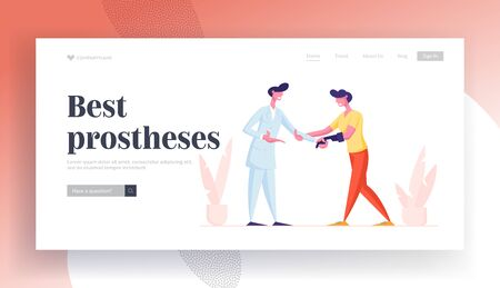 Healthcare Disability, Medicine, Therapy Appointment Website Landing Page. Doctor Shaking Hand to Invalid Handicapped Man with Arm Bionic Prosthesis Web Page Banner. Cartoon Flat Vector Illustration Illustration