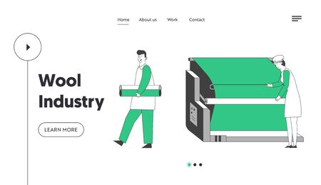 Modern Wool Textile Factory Website Landing Page. Plant Machinery Equipment, Machine for Yarn Producing. Wrapping Machine Making Cloth Rolls Web Page Banner. Cartoon Flat Vector Illustration, Line Art