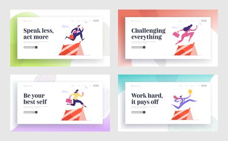 Goal Achievement, Path to Success Website Landing Page Set. Businesspeople Run Obstacle Race Competition Jumping over Barriers, Leadership Challenge Web Page Banner. Cartoon Flat Vector Illustration Ilustrace
