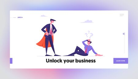 Dont Give Up, Never Stop Trying Motivation Website Landing Page. Confused Businessman Sitting on Ground Look at Successful Super Hero Business Man Web Page Banner. Cartoon Flat Vector Illustration Ilustrace