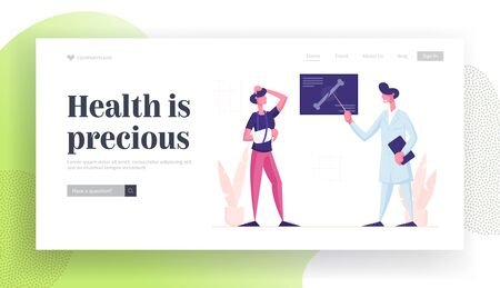 Medical Specialist Appointment Healthcare Website Landing Page. Doctor Traumatologist Show X-ray Picture with Limb Fracture to Patient with Broken Arm Web Page Banner. Cartoon Flat Vector Illustration