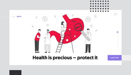 Gastroenterology and Helicobacter Disease.Website Landing Page. Man Suffering of Stomachache Causes of Gastritis, Patient Touch Painful Belly Web Page Banner. Cartoon Flat Vector Illustration Line Art Illustration