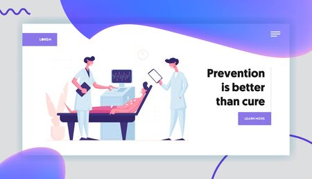 Medical Check Up, Diagnostic and Health Care Website Landing Page. Doctors Scanning Patient on Ultrasound Machine in Hospital with Computer Device Web Page Banner. Cartoon Flat Vector Illustration