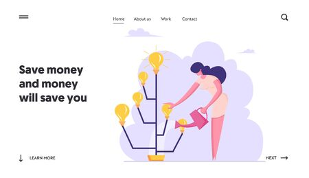 Brainstorm Insight Harvesting Process Website Landing Page. Businesswoman Watering Idea Tree with Glowing Light Bulbs. Startup Creative Project Web Page Banner. Cartoon Flat Vector Illustration