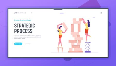 Business Strategy Website Landing Page. Women Playing Intellectual Strategic Board Game Put Wooden Block Pieces on Each Other for Making High Tower Web Page Banner. Cartoon Flat Vector Illustration Ilustrace