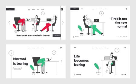 Boring Office Employees Sleeping at Desk Postponing Work, Unprofitable Time Website Landing Page Set. Lazy or Tired Business People Dreaming Web Page Banner. Cartoon Flat Vector Illustration, Line Art