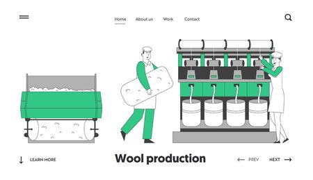 Wool Textile Industry Website Landing Page. Factory Workers in Uniform Standing Near Controlling Weaver Loom Creating Cloth. Plant Facilities Web Page Banner. Cartoon Flat Vector Illustration Line Art  イラスト・ベクター素材