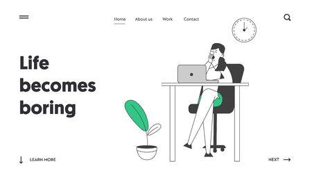 Procrastination, Business Laziness Website Landing Page. Procrastinating Lazy Businesswoman Employee Yawning at Workplace Sit at Office Desk Web Page Banner. Cartoon Flat Vector Illustration, Line Art