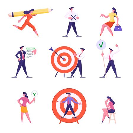 Set of Businesspeople Characters Carry Huge Pencil, Holding Banners, Insurance Policy Service, Aim with Arrow in Center, Woman Thinking Isolated on White Background Cartoon Flat Vector Illustration
