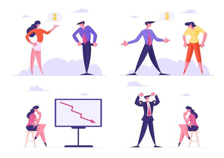 Set of Businesspeople Demonstrate Empty Pockets, Woman Look on Falling Arrow Chart, Man Show Power with Dollar on Arms Business Characters Isolated on White Background Cartoon Flat Vector Illustration