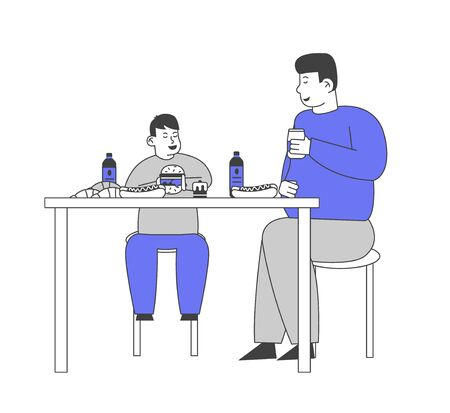 Family Unhealthy Eating Concept. Fatty Father and Fat Child Sitting at Table with Plenty of Fast Food Contain Carbohydrates and Oils, Drinking Soda Beverages Cartoon Flat Vector Illustration, Line Art Ilustrace