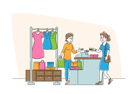 Shopping Spare Time. Young Woman Paying with Credit Card at Counter Desk in Store. Girl Buying Garment Standing near Hanger in Apparel Boutique in Mall Cartoon Flat Vector Illustration, Line Art Ilustrace