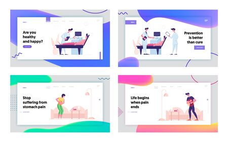 Ultrasound Diagnostic, Stomach Pain Website Landing Page Set. Patient Lying at Scanning Machine with Suckers on Chest, People Suffer of Abdominal Ache Web Page Banner. Cartoon Flat Vector Illustration