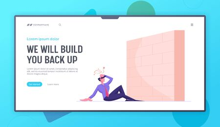Business Obstacle and Barrier Website Landing Page. Businessman Sit on Ground with Dizzy Head at High Brick Wall Face Difficulty on Way to Success Web Page Banner. Cartoon Flat Vector Illustration