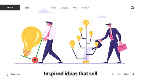 Producing Ideas, Creativity, Invention Harvesting Website Landing Page. Businessman Watering Tree with Glowing Light Bulbs, Business Man Shipping Lamp Web Page Banner. Cartoon Flat Vector Illustration Ilustrace