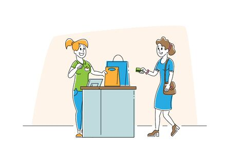 Shopping in Supermarket or Garment Shop, Girl Customer with Goods in Paper Bags Stand at Cashier Desk Paying for Purchases by Credit Cards. Sale, Consumerism Cartoon Flat Vector Illustration, Line Art