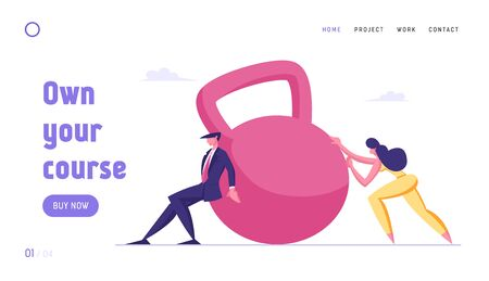 Mortgage, Tax Payment, Bank Credit Loan or Debt Website Landing Page. Businesspeople Pushing Huge Weight. Financial Crisis and Money Burden Problems Web Page Banner. Cartoon Flat Vector Illustration
