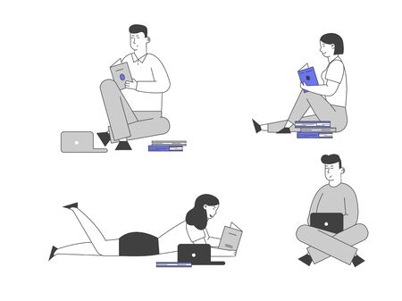 Young People Study Set Isolated on White Background. Girls and Boys with Laptops and Books Sitting on Floor Prepare to Exam. Distance Learning, Online Courses Cartoon Flat Vector Illustration Line Art Ilustrace