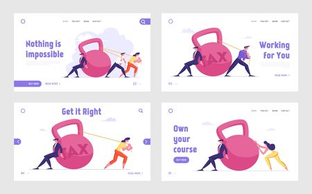 Tax Payment, Bank Loan and Mortgage Website Landing Page Set. Businesspeople Pulling Huge Dumbbell. Taxpayer Finance Bankruptcy, Poverty and Taxation Web Page Banner. Cartoon Flat Vector Illustration Ilustrace