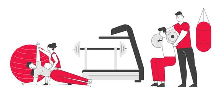 People Fitness Training in Gym with Coach Help. Male and Female Characters in Sports Wear Workout with Weight. Training Exercises Sport Activity Healthy Life Cartoon Flat Vector Illustration, Line Art