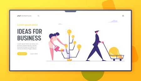 Invention Project Website Landing Page. Businesswoman Inventor Grow Idea Tree with Glow Light Bulbs. Happy Business Man Pushing Cart with Huge Lamp, Web Page Banner. Cartoon Flat Vector Illustration Ilustrace
