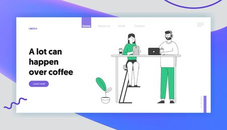 People Visiting Restaurant Website Landing Page. Young Man and Woman Relax in Cafe Sitting at Table with Coffee Cups, Tablet and Laptop Web Page Banner. Cartoon Flat Vector Illustration, Line Art