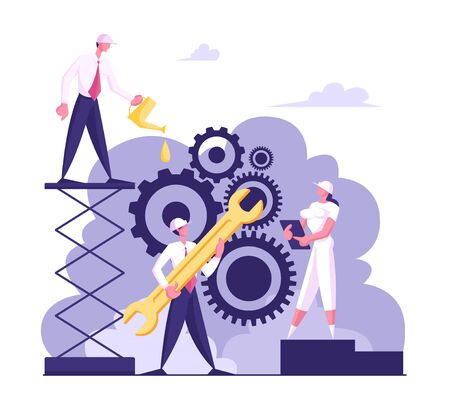 Business Characters in Hardhats Moving Huge Gear Mechanism Using Wrench and Oilcan. Woman Managing Cogwheel Process at Tablet. Working Routine and Teamwork Concept. Cartoon Flat Vector Illustration Ilustrace