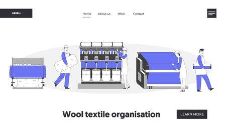 Modern Textile Factory Website Landing Page. Automated Machine Producing Yarn. Manufacturing of Wool Fibers with Plant Machinery Equipment Web Page Banner. Cartoon Flat Vector Illustration, Line Art