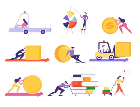 Set of Businesspeople Pushing Huge Geometric Figures, Set Up Pie Chart, Push Cart with Books Pile, Driving Forklift. Business Characters Isolated on White Background Cartoon Flat Vector Illustration Ilustrace