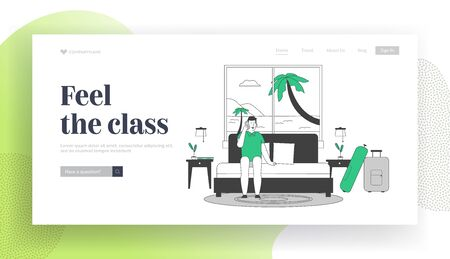 Summer Vacation on Resort Website Landing Page. Man Tourist Sit on Couch in Hotel Suit near Large Window with Seascape View with Palm Trees Web Page Banner. Cartoon Flat Vector Illustration, Line Art