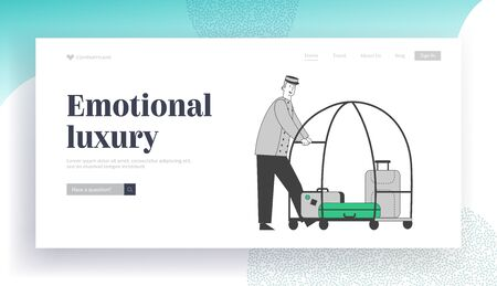 Bellhop, Bellman Pushing Luggage Cart with Suitcases Website Landing Page. Hotel Staff in Uniform Bellboy Meeting Guest, Hospitality Service Web Page Banner. Cartoon Flat Vector Illustration, Line Art