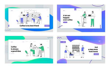 Customers in Recreational Place, Hospitality Website Landing Page Set. Men and Women Spend Time in Cafe with Free Wifi Drinking Coffee, Chat Web Page Banner. Cartoon Flat Vector Illustration, Line Art