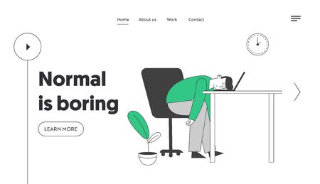 Emotional Burnout, Procrastination Website Landing Page. Tired or Boring Businessman Lying on Laptop at Working Place with Computer in Office Web Page Banner. Cartoon Flat Vector Illustration Line Art