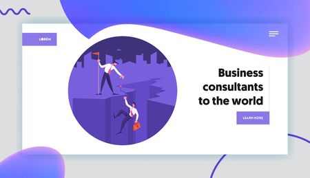 Teamwork, Leadership Website Landing Page. Business Leader Character Help Colleague Climb to Top of Cleft with Hoisted Red Flag on Mountain Peak Web Page Banner. Cartoon Flat Vector Illustration 向量圖像
