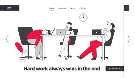 Procrastination, Laziness Website Landing Page. Boring, Procrastinating and Lazy Businesspeople Employees Sleeping and Yawning at Workplace Web Page Banner. Cartoon Flat Vector Illustration, Line Art