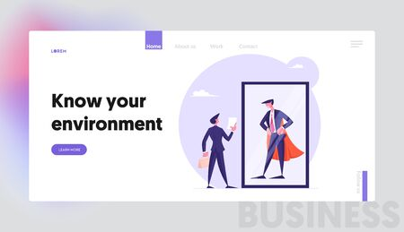 Employee Dream to be Wealthy Businessman Website Landing Page. Usual Office Manager Look at Successful Business Man in Super Hero Cape in Mirror Web Page Banner. Cartoon Flat Vector Illustration