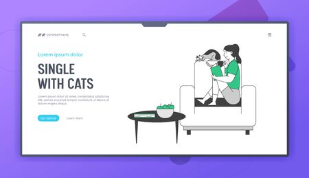 Reading Books Hobby Website Landing Page. Young Woman Sitting on Cozy Armchair at Home Read Interesting Book with Cat Sleeping beside World Web Page Banner. Cartoon Flat Vector Illustration, Line Art