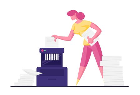 Businesswoman, Accountant Destroy Secret Documents Put in Shredder with Piles of Sheets around. Woman Trying to Hide Criminal Activity and Private Company Information Cartoon Flat Vector Illustration