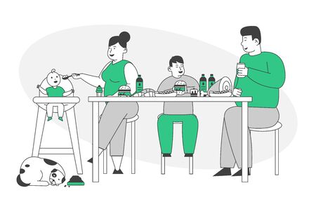 Fat Family Eating Unhealthy Food with High Level of Carbs. Mother, Father and Kids Sitting at Table with Bakery, Fastfood and Meat, Thick Dog Sleep on Floor Cartoon Flat Vector Illustration, Line Art