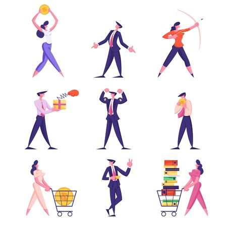 Set Businesspeople Lifestyle. Male Female Characters Shoot with Bow, Fighting with Boxing Glove, Collect Money