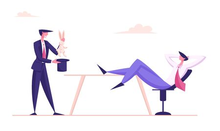 Businessman Perform Entertainment Trick Pull Rabbit Out of Cylinder Hat Demonstrate Business Skills to Relaxed Entrepreneur Investor Sitting on Chair with Legs on Desk Cartoon Flat Vector Illustration