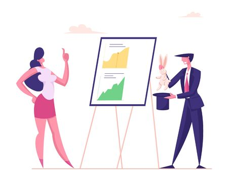 Skilled Businessman Wizard Demonstrate to Businesswoman Magical Trick with Rabbit and Top Hat front of Chart Board with Data Analysis Graphs. Business Magic Concept, Cartoon Flat Vector Illustration