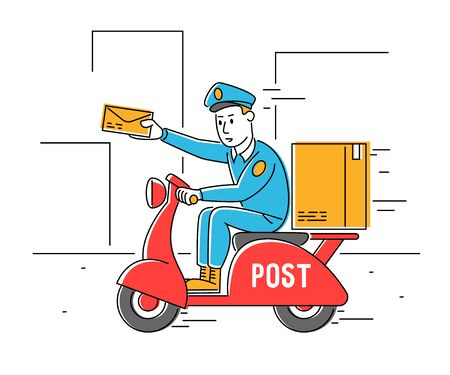 Postman Shipping Parcel and Mail by Scooter. Courier Man Hold Paper Envelop in Hand. Mailman Character Delivering Post on Moped. Express Delivery Service Cartoon Flat Vector Illustration, Line Art Vektorgrafik