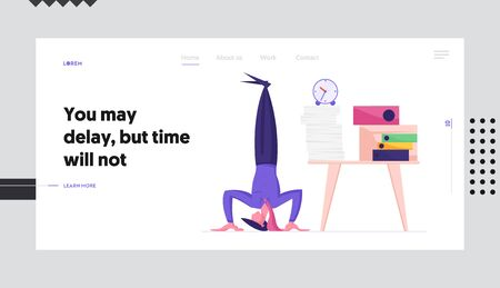 Business Laziness, Work Procrastination Website Landing Page. Businessman Stand on Head at Workplace with Pile of Paper Documents and Alarm Clock Web Page Banner. Cartoon Flat Vector Illustration Illustration