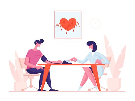 Checking Arterial Pressure Concept. Female Doctor Using Digital Device Tonometer for Measuring Male Patient Blood Pressure. Medical Equipment, Monitoring Health Care Cartoon Flat Vector Illustration Vector Illustration