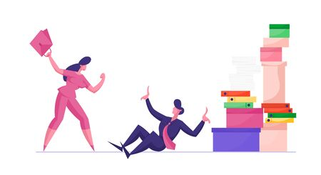 Office Fight. Businesswoman Boss Shouting on Overwork Office Employee Sitting at Floor with Huge Pile of Documentation Folders. Company Leader Hurry Worker with Job Cartoon Flat Vector Illustration
